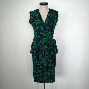 Vintage Milonzo Dress Black and Green Floral Dress
